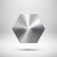 Fototapete - Abstract Polygon Button Template with Metal Texture