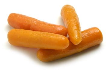 Daucus carota Baby carrot sticks isolated on white