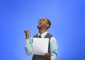 Angry customer, executive man screaming holding document