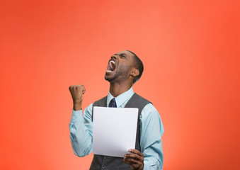 Angry customer executive man screaming holding document paper