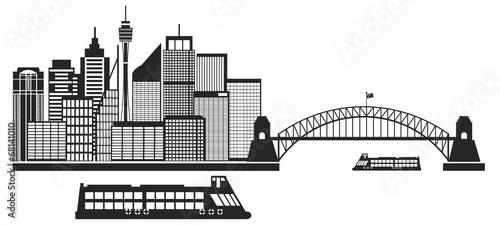 Sydney Australia Skyline Black and White Illustration