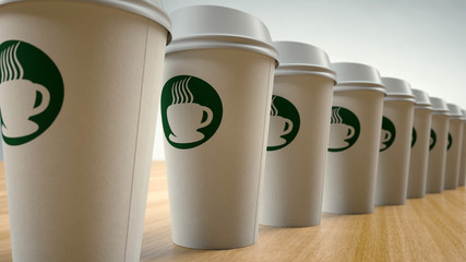 Paper Coffee Cups In a Row
