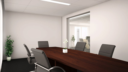 3d render of an conference room interior with wood table