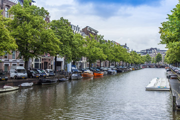 Amsterdam, Netherlands. Typical urban view with old houses