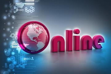 On-line illustration with globe.
