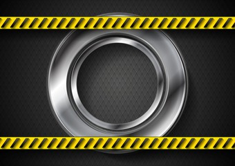 Abstract tech background with danger tape and metallic circle