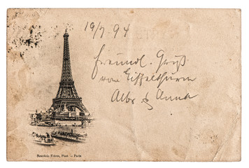 vintage postcard with Eiffel Tower in Paris, France