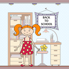 Vector illustration with school attributes and girl