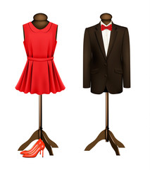 A suit and a formal dress on mannequins with red high heels. Vec