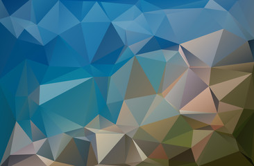 Abstract polygonal background blue brown