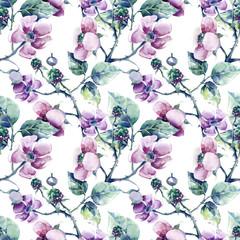Blackberry Flower Seamless Pattern