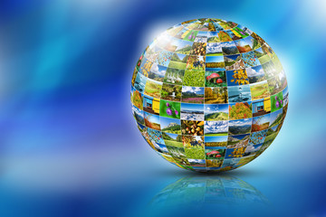 Abstract globe formed by nature photos - place for text