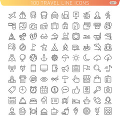 Travel Line Icons for Web and Mobile. Light version