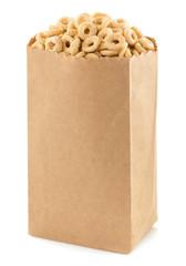 cereal corn rings in paper bag