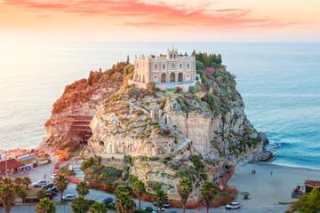 Santa Maria dell'Isola at sunset - Tropea, Calabria, Italy Wall mural
