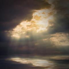 Dramatic sky over sea.