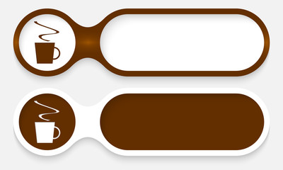 two buttons for entering text with cup of coffee