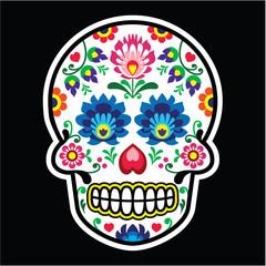Mexican sugar skull - Polish folk art style - Wycinanka