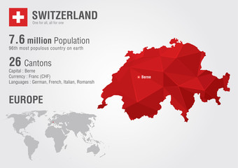 Switzerland world map with a pixel diamond texture. Wall mural