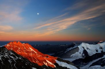 Wall Murals Night blue Mountain landscape, Berner Oberland, Switzerland - UNESCO Heritage