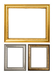 Golden wood frame isolated on white background