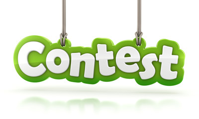 Contest green word text hanging on white background
