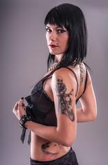 Sensual Tattoo Girl. Studio shoot.