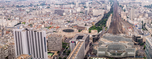 Panoramic aerial view of Paris with central train station