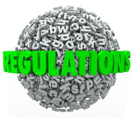 Fototapete - Regulations Word Letter Ball Sphere Rules Laws Guidelines