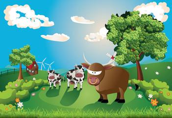 Fotobehang Beren Cows and Bull on Lawn