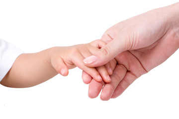 Adult hands holding a child's hand  Isolated on white