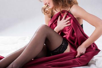 Woman in satin fabric
