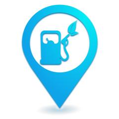 carburant écologique sur symbole localisation bleu