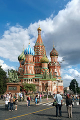 Tourists visiting St. Basil Cathedral, Red Square, Moscow