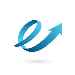 Letter E arrow loop logo design template elements.