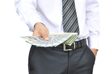 Businessman hand holding money - United States dollars (USD)