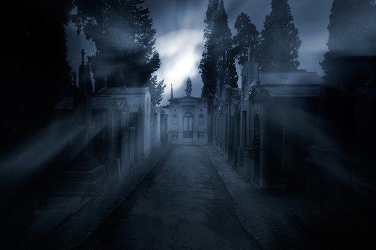 Cemetery in a foggy full moon night