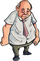 Cartoon overweight man looking very sad
