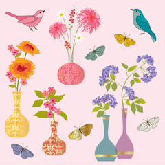 flowers vases birds