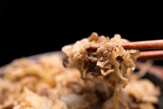 牛丼 beef rice bowl 黒背景
