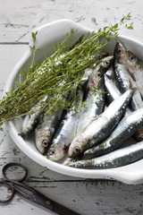 sardines on dish with thyme on rustic background