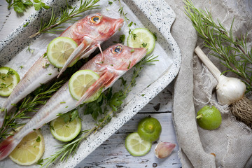 two fresh whole fishes on casserole with aromatic plants