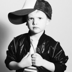 monochrome portrait of Fashionable Child.stylish little boy