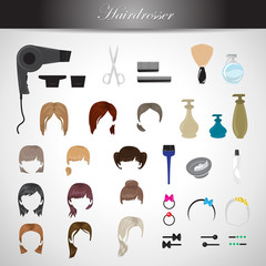 Hairdressing Equipment Icons Set - Isolated On Gray Background
