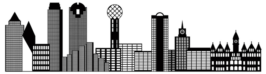 Dallas City Skyline Black and White Outline Vector Illustration