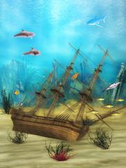Poster Submarine Ship underwater