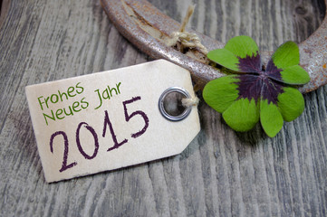 Hufeisen mit Kleeblatt und Holzanhänger und 2015