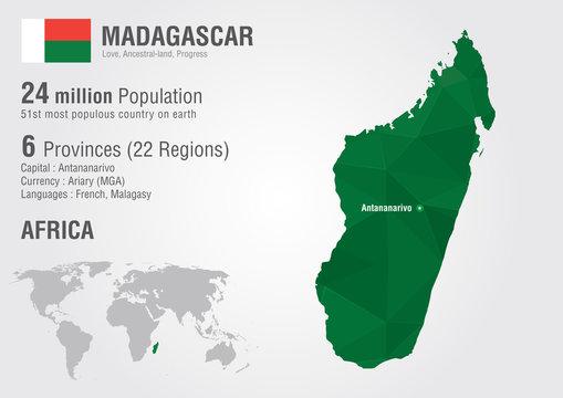 Madagascar world map with a pixel diamond texture.