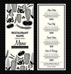 Black and White Restaurant Menu Design Template Layout