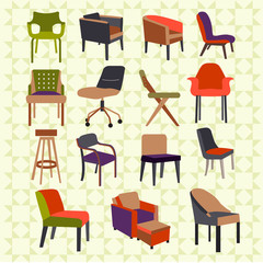 Set icons of chairs - Illustration